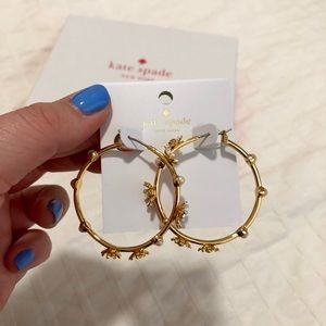 Kate Spade Gold Daisy Hoops — Never Worn!
